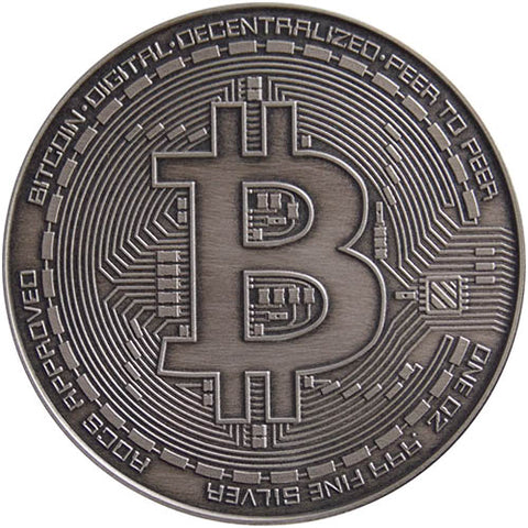 1oz Antique Silver Bitcoin Commemorative Round