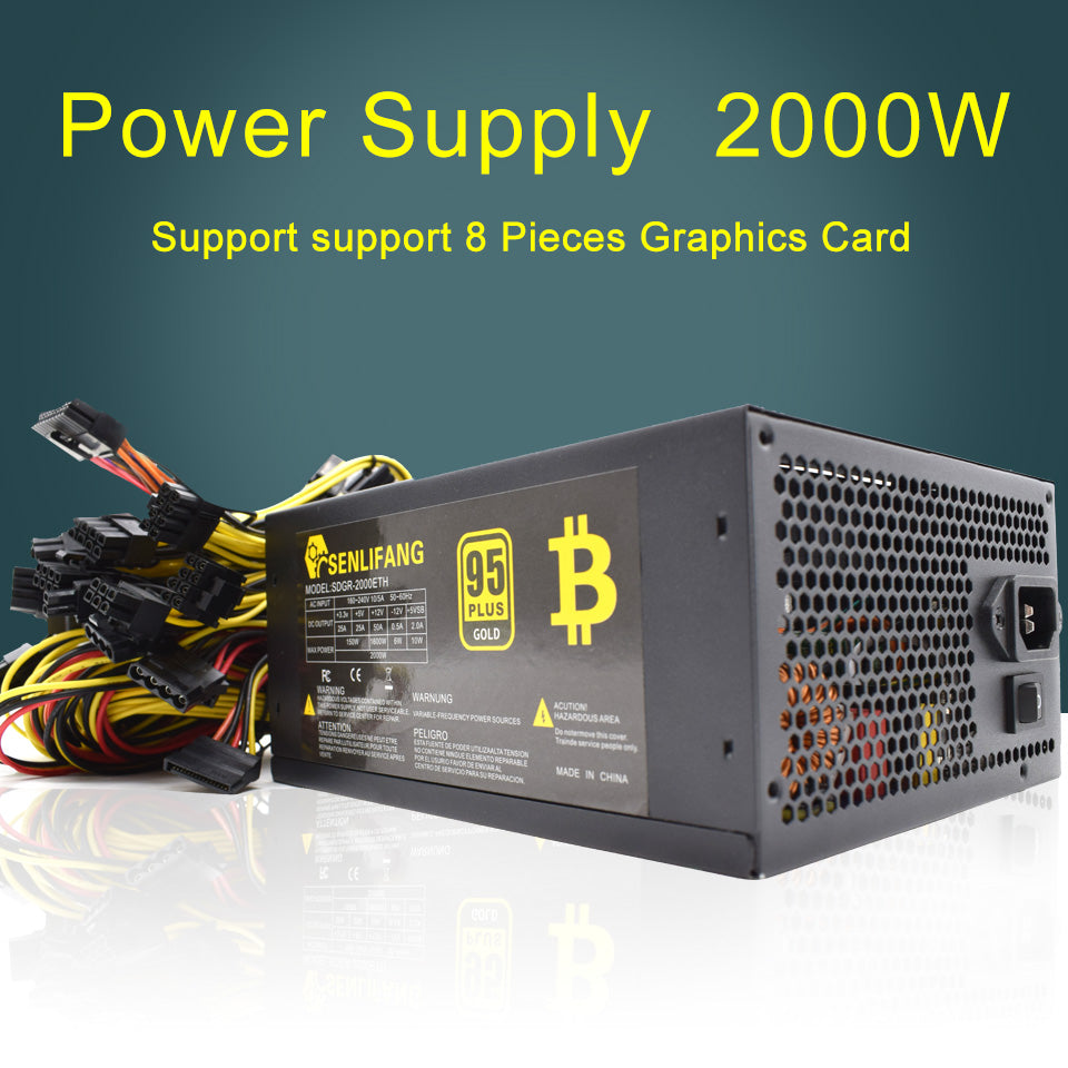 2000W Switching Power Supply 90% High Efficiency for Ethereum S9 S7 L3 Rig Mining 180-260V for bitcoin miner asic bitcoin Mining