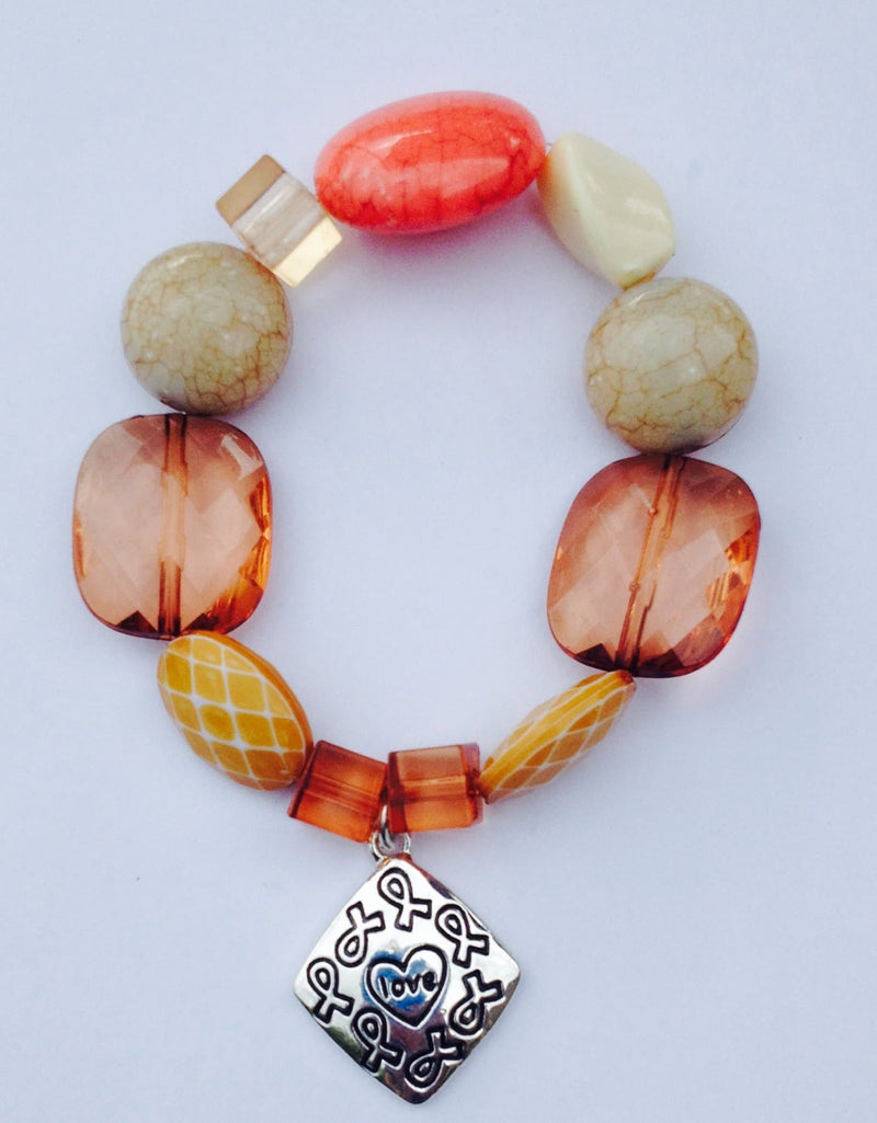 Tobacco Awareness Brown Beaded Bracelet with Charm - The House of Awareness