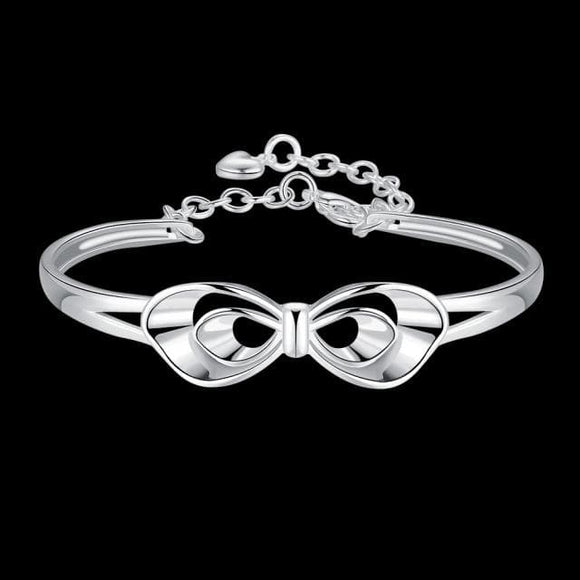 Classical Silver Flower Bangle For Women