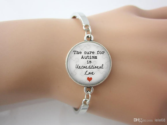 The Cure for Autism is Unconditional Love Pendant bangle - The House of Awareness