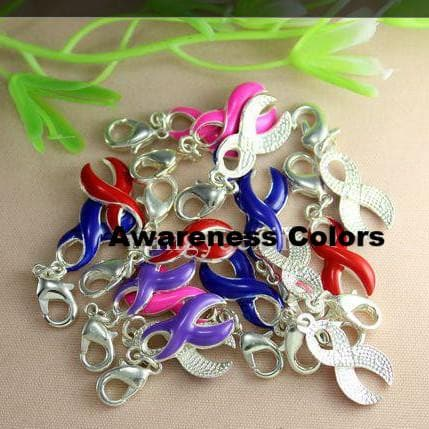 Silver Ribbon Awareness Charms for European Bracelet / Pendant - The House of Awareness