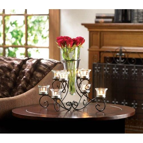 Set of 2 Wrought Iron Candle Holders With Vase - The House of Awareness