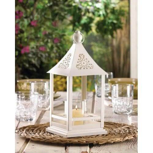 Beautiful White Floral Cutout Lantern With Glass Hurricane - The House of Awareness
