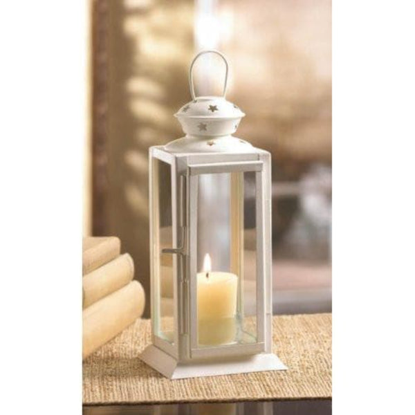 White Colonial Rectangle Lantern , Candle Lanterns - Gallery Of Lights, The House of Awareness  - 1