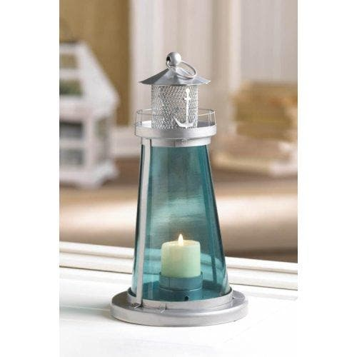 Set of 2 Blue Glass Lighthouse Lanterns