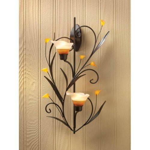 2 Amber Lilies Candle Wall Sconces - The House of Awareness