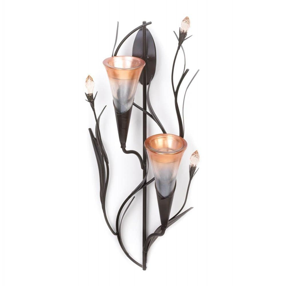Dawn Lily Double Candle Wall Sconce , Tealight Candleholders - Home Locomotion, The House of Awareness  - 1