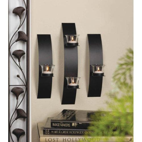Modern 3-Piece Wall Sconce with 4 White Led Tea Lights with Timer - The House of Awareness