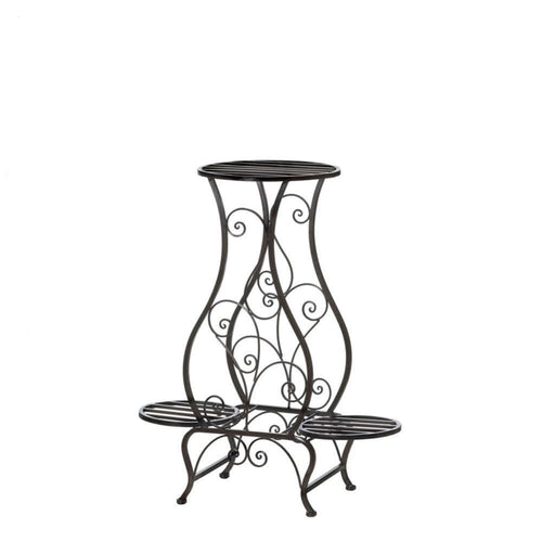 Hourglass Iron Plant Stand For Three Plants - The House of Awareness