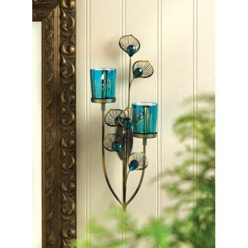 2 Peacock Plume Candle Wall Sconces - The House of Awareness