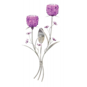 Fuchsia Blooms Wall Sconce with 2 White Led Tea Lights with Timer - The House of Awareness