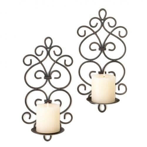 Black Iron Scrollwork Candle Wall Sconces - The House of Awareness