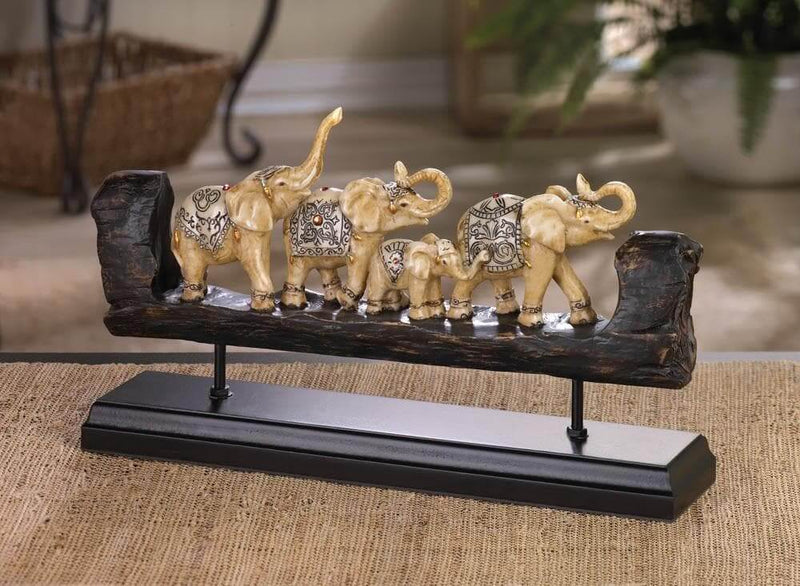 Elephant Family Carved Decor - The House of Awareness