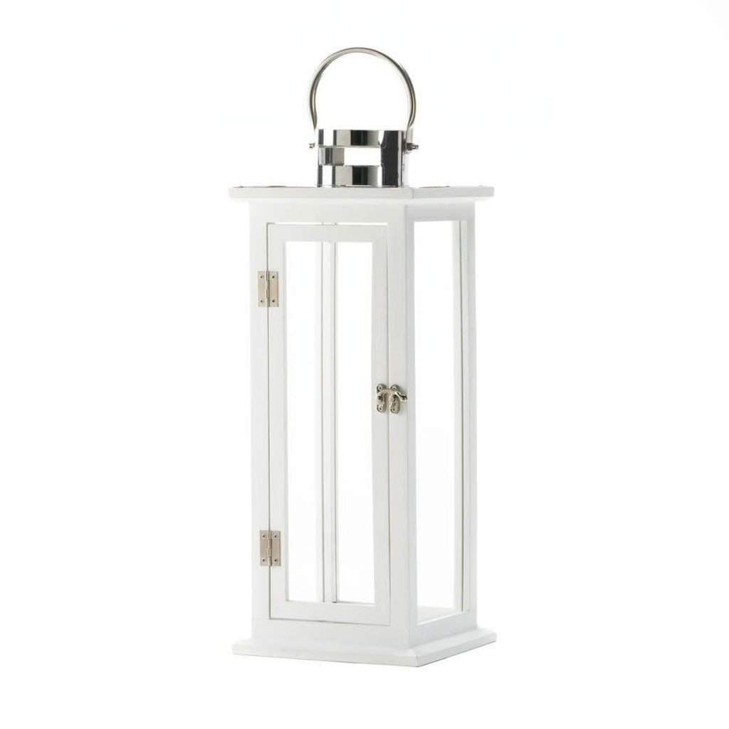 White Wooden Large Candle Lantern - The House of Awareness