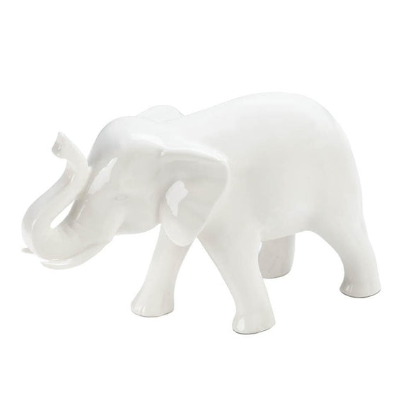 Small White Ceramic Elephant - The House of Awareness