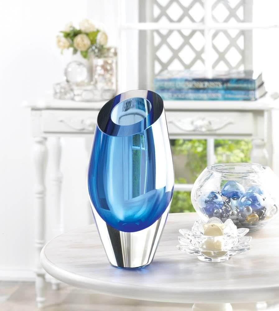 Angled Blue Glass Vase - The House of Awareness