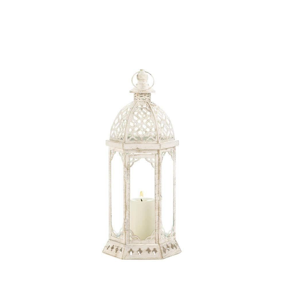 Graceful Distressed Small White Lantern - The House of Awareness