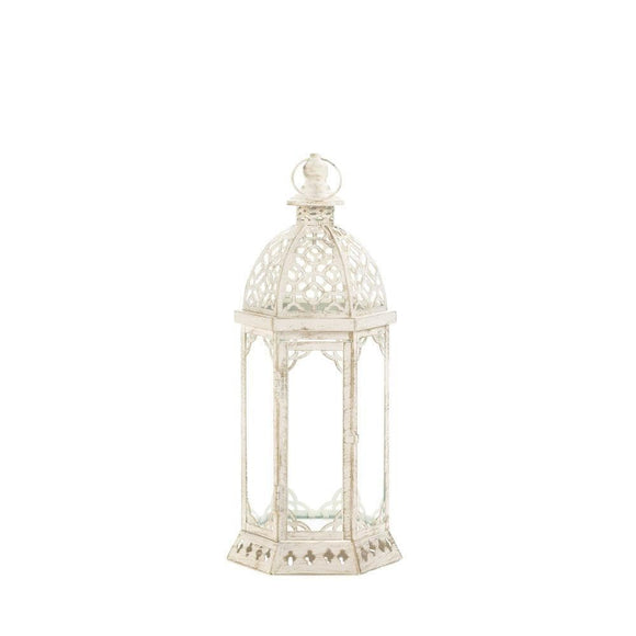 Graceful Distressed Small White Lantern , Candle Lanterns - Home Locomotion, The House of Awareness  - 1