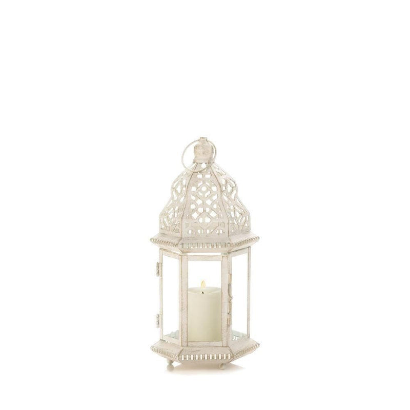 Small Distressed White Lantern - The House of Awareness