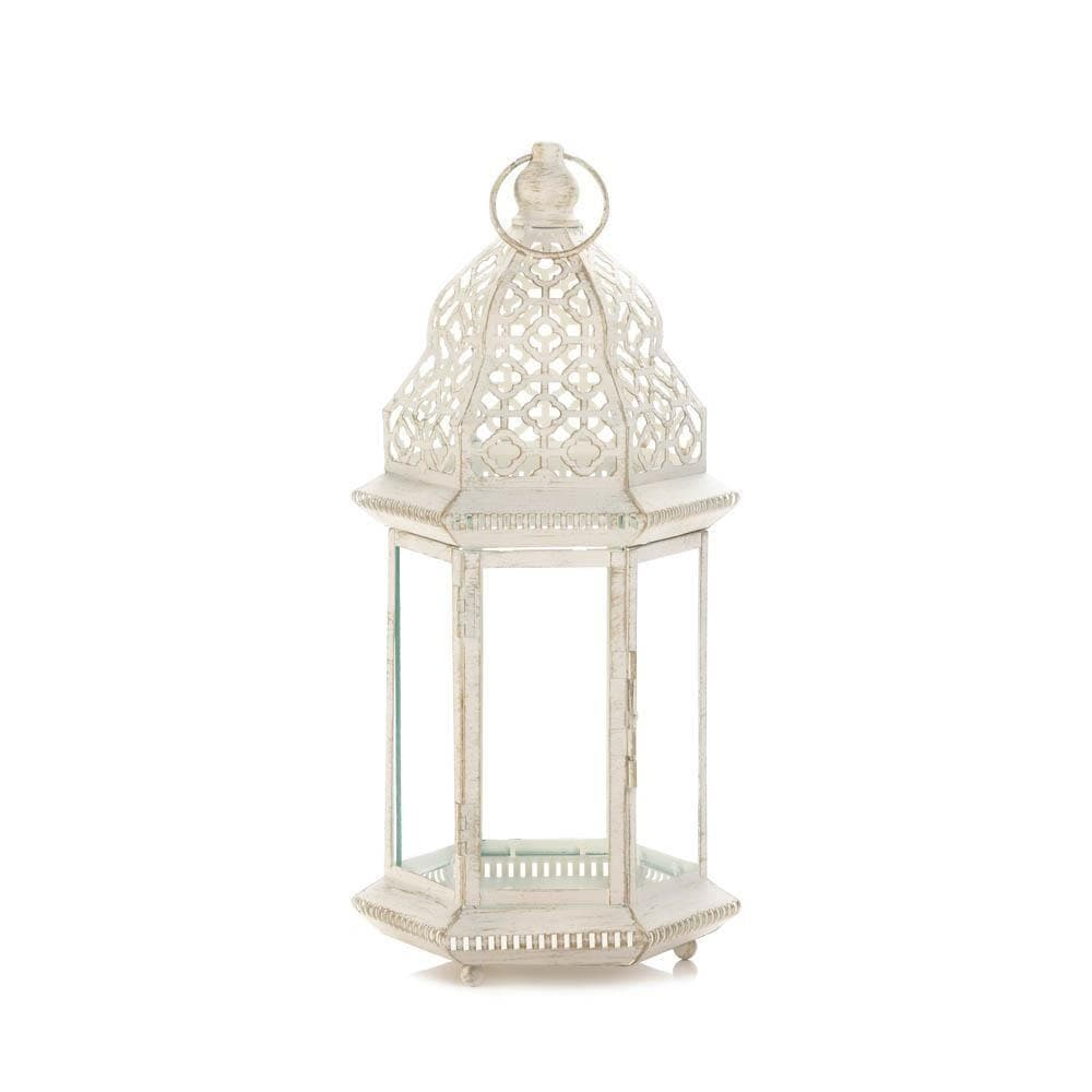 Sublime Distressed White Large Lantern - The House of Awareness