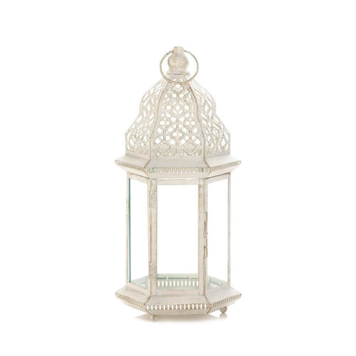 Set of 2 Sublime Distressed White Large Lanterns - The House of Awareness