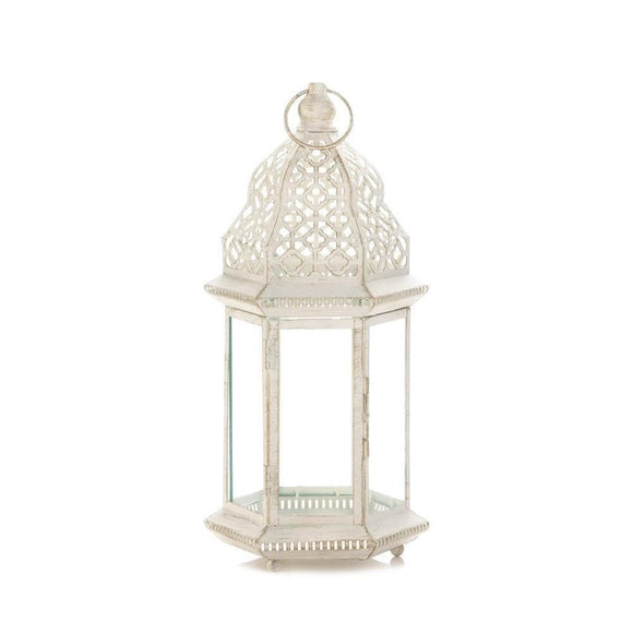 Sublime Distressed White Large Lantern , Candle Lanterns - Home Locomotion, The House of Awareness  - 1