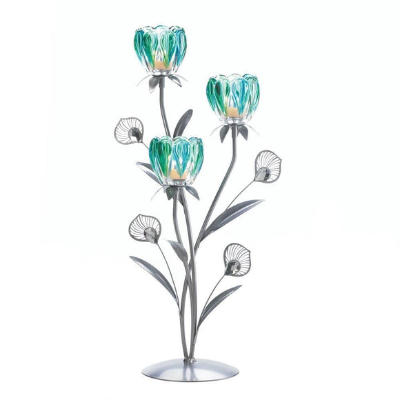 Triple Peacock Bloom Candleholder - The House of Awareness