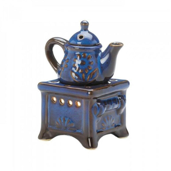 Teapot Stove Oil Warmer Blue , Oil Burners - Fragrance Foundry, The House of Awareness