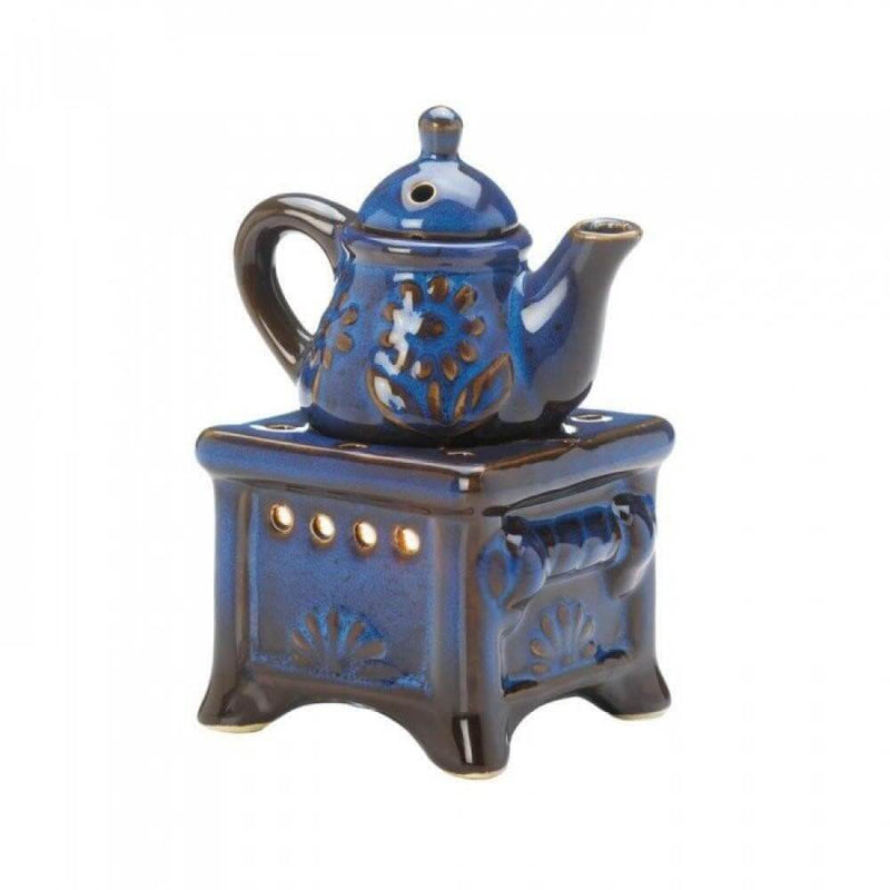 Teapot Stove Oil Warmer Blue - The House of Awareness