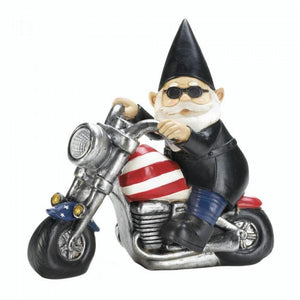 Biker Gnome Solar Statue - The House of Awareness