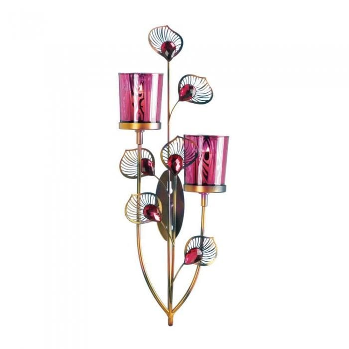 Pair of Pink Peacock Wall Sconces - The House of Awareness