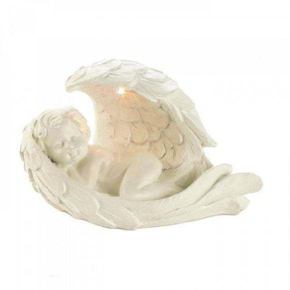 Set of 2 Peaceful Cherub Figurines With Solar Light