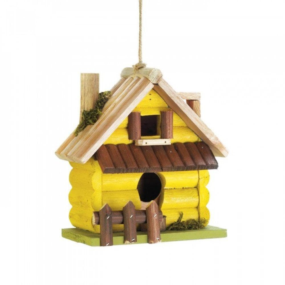 Yellow Log Home Birdhouse - The House of Awareness