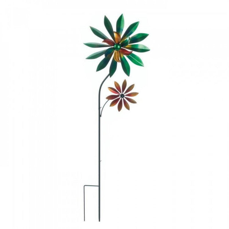Set of 2 Flower Outdoor Garden Decorative Iron Spinning Windmills - The House of Awareness