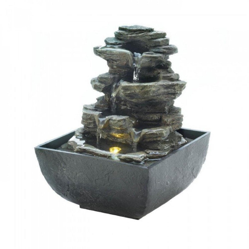 Tiered Rock Formation Tabletop Fountain - The House of Awareness