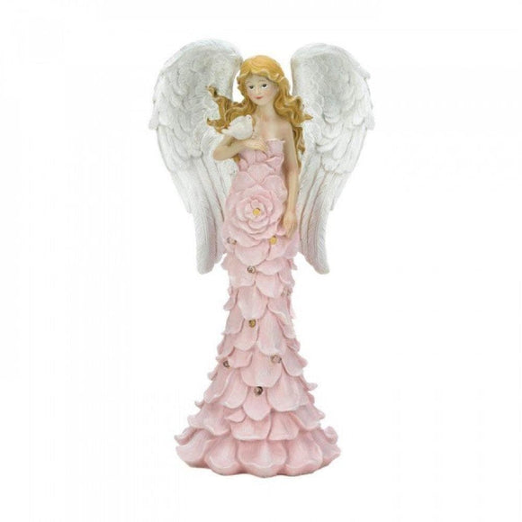 Set of 2 Solar Powered Pink Rose Angel Statues