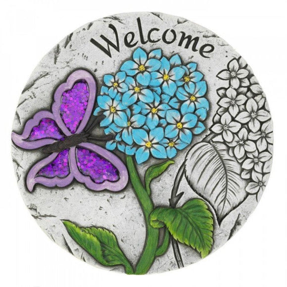 Set of 2 Purple Butterfly Welcome Garden Stepping Stones