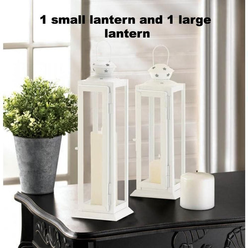 Large and Small Cutout Stars White Lanterns - The House of Awareness