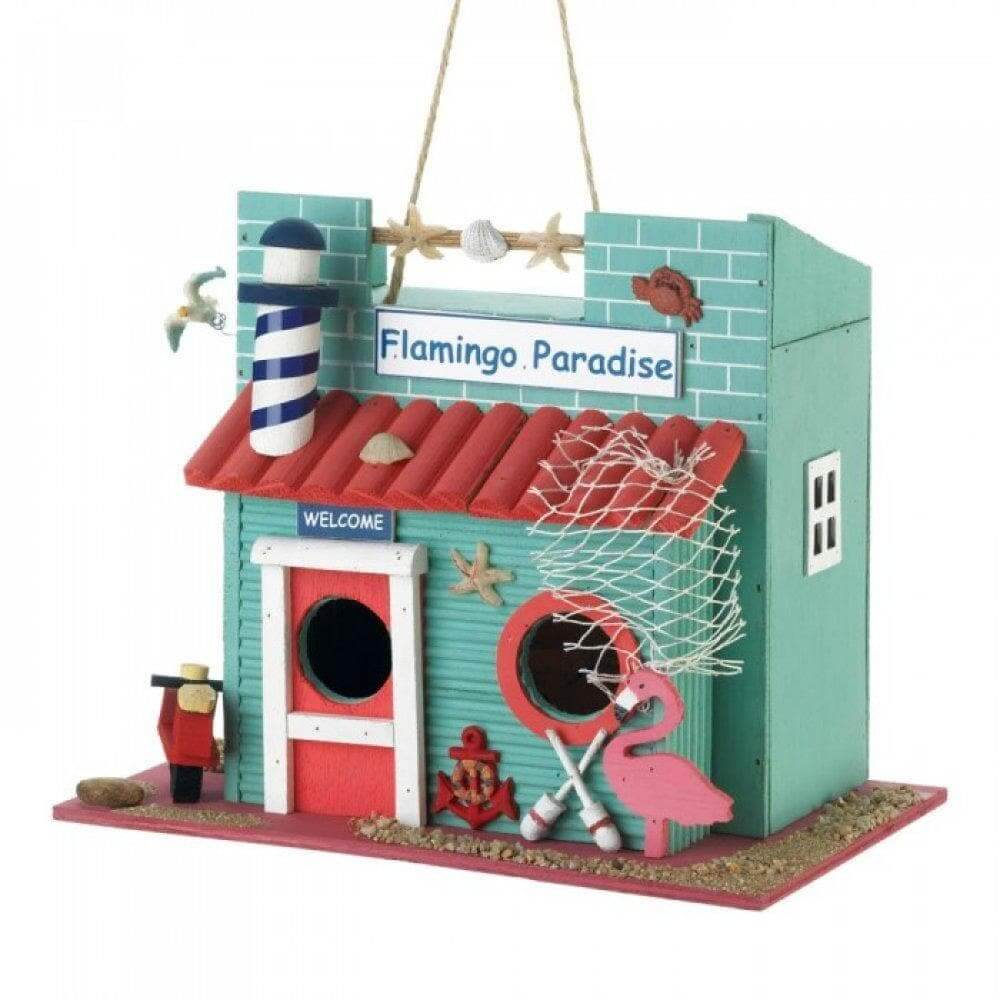 Flamingo Hangout By The Sea Birdhouse - The House of Awareness