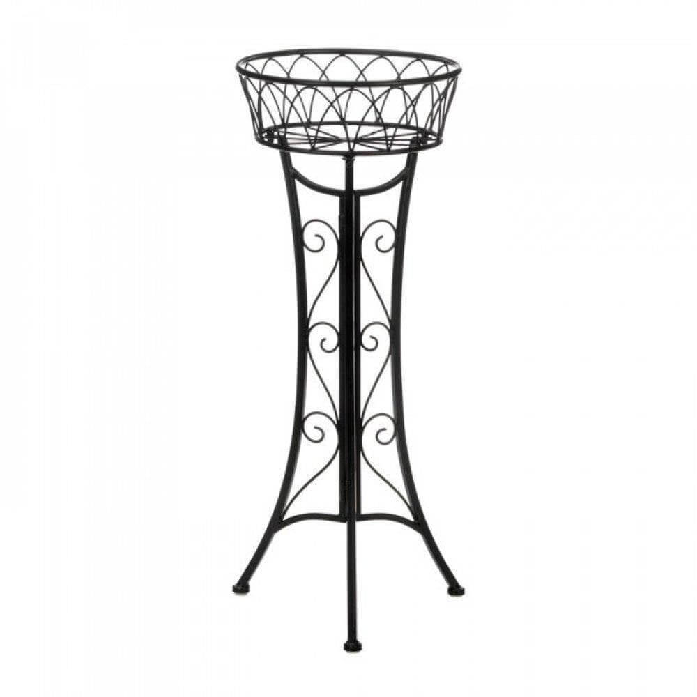 Black Scrollwork Plant Stand - The House of Awareness