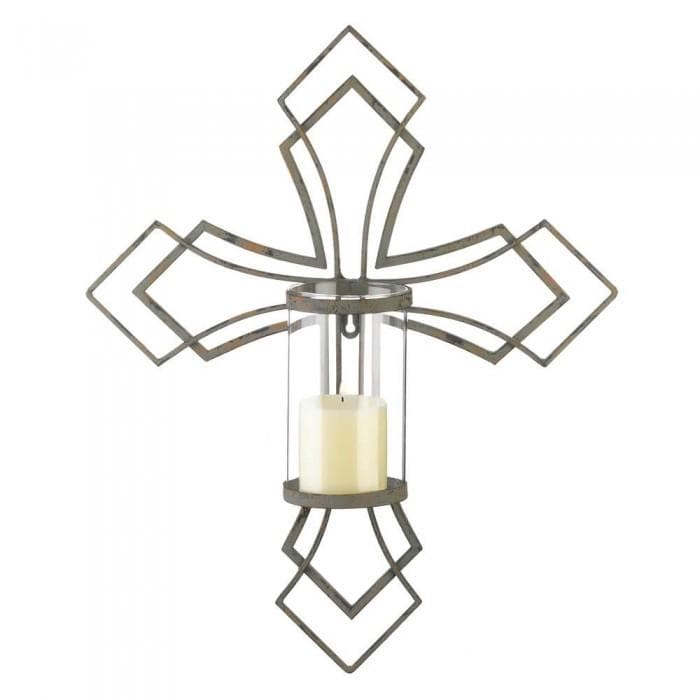 Set of 2 Contemporary Cross Candle Wall Sconces - The House of Awareness
