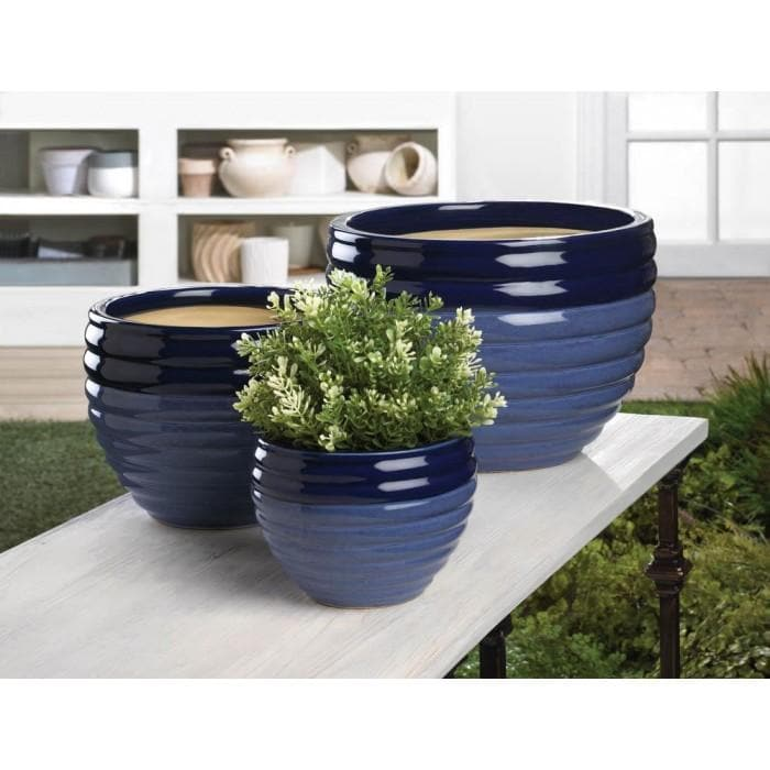 Two-Tone Blue Planter Set Of 3 - The House of Awareness