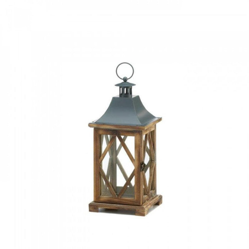 Wooden Diamond Motif Wooden Lantern - The House of Awareness
