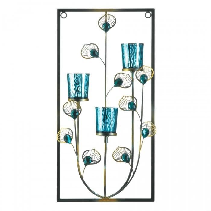 Peacock Three Candle Wall Sconce - The House of Awareness