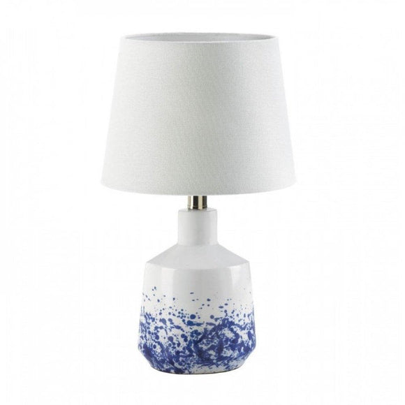 Set of 2 White And Blue Splatter Table Lamps