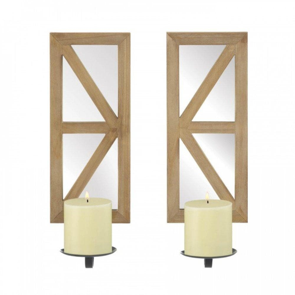 Mirrored Wood Candle Sconce Set - The House of Awareness