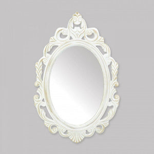 Antiqued White Wall Mirror - The House of Awareness