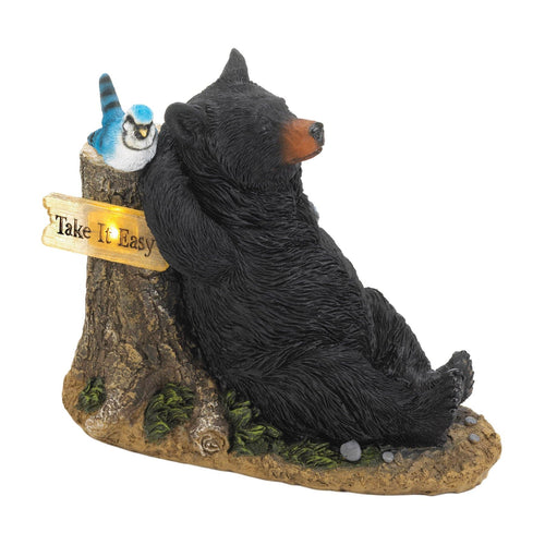 Sleepy Bear Solar Light Statue