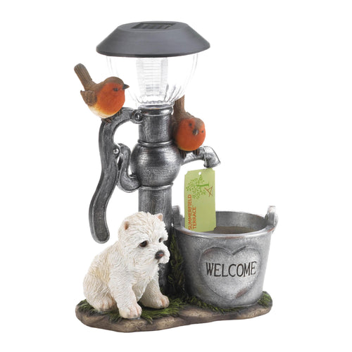 Little Pup And Birds Solar Light
